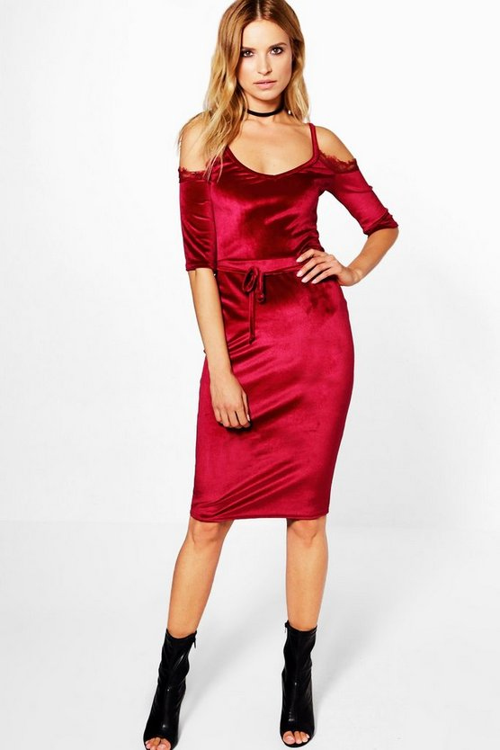 Hollie Velvet Cold Shoulder Tie Waist Midi Dress