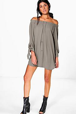 Valerie Tie Sleeve Off Shoulder Shift Dress