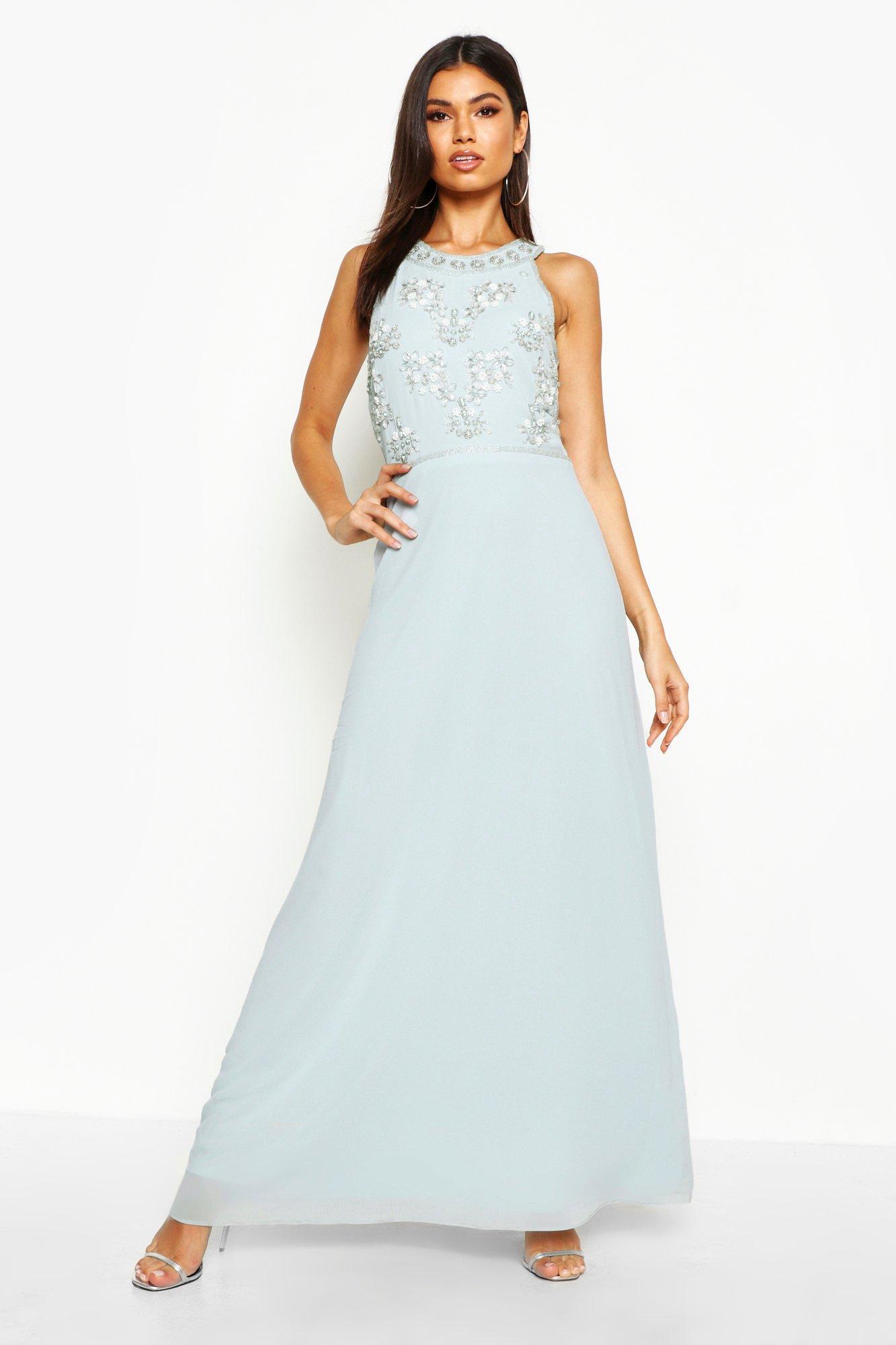 Maxi Dresses Floral Embellished Maxi Bridesmaid Dress