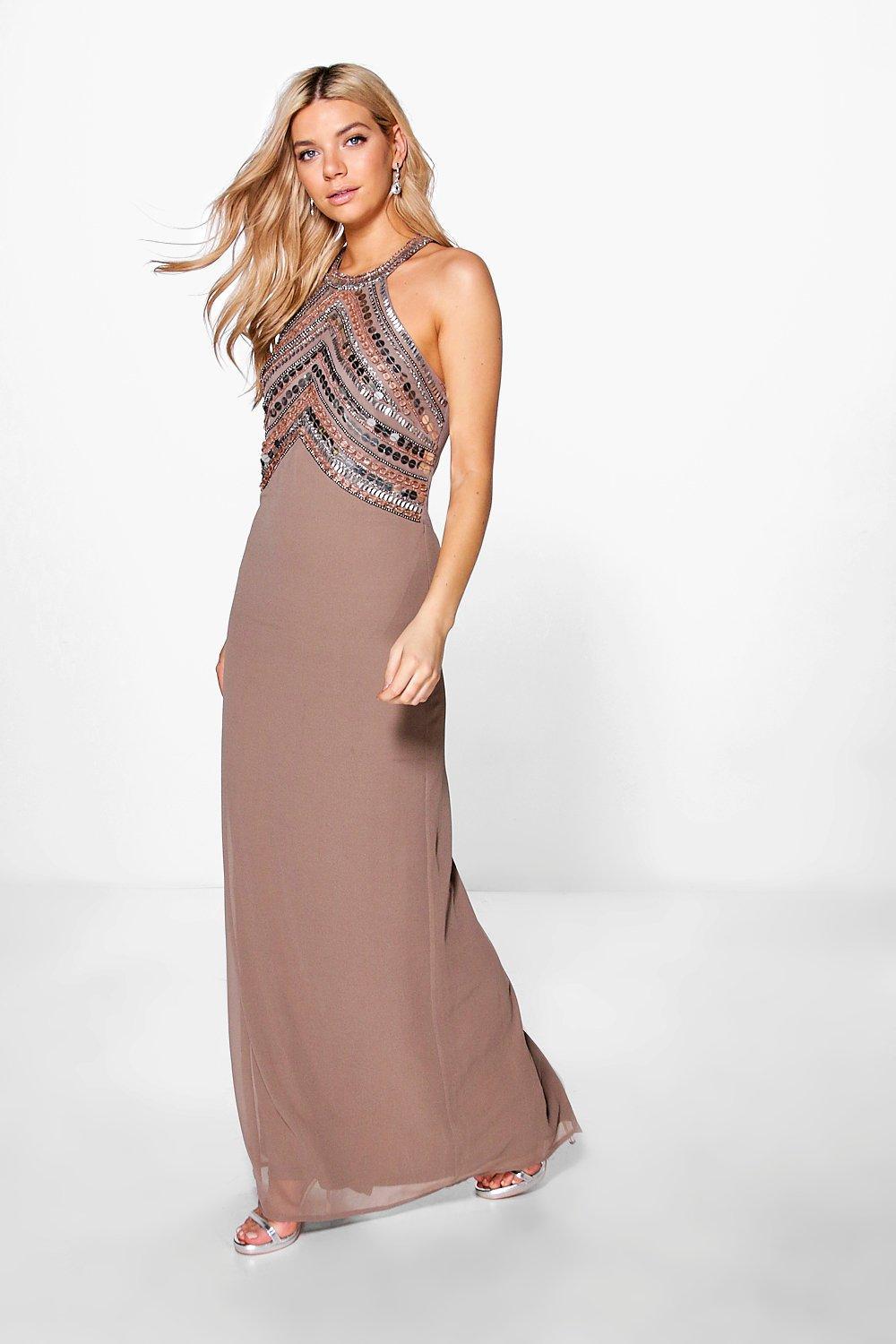 Boutique Ray Beaded Top Low Back Maxi Dress | Boohoo