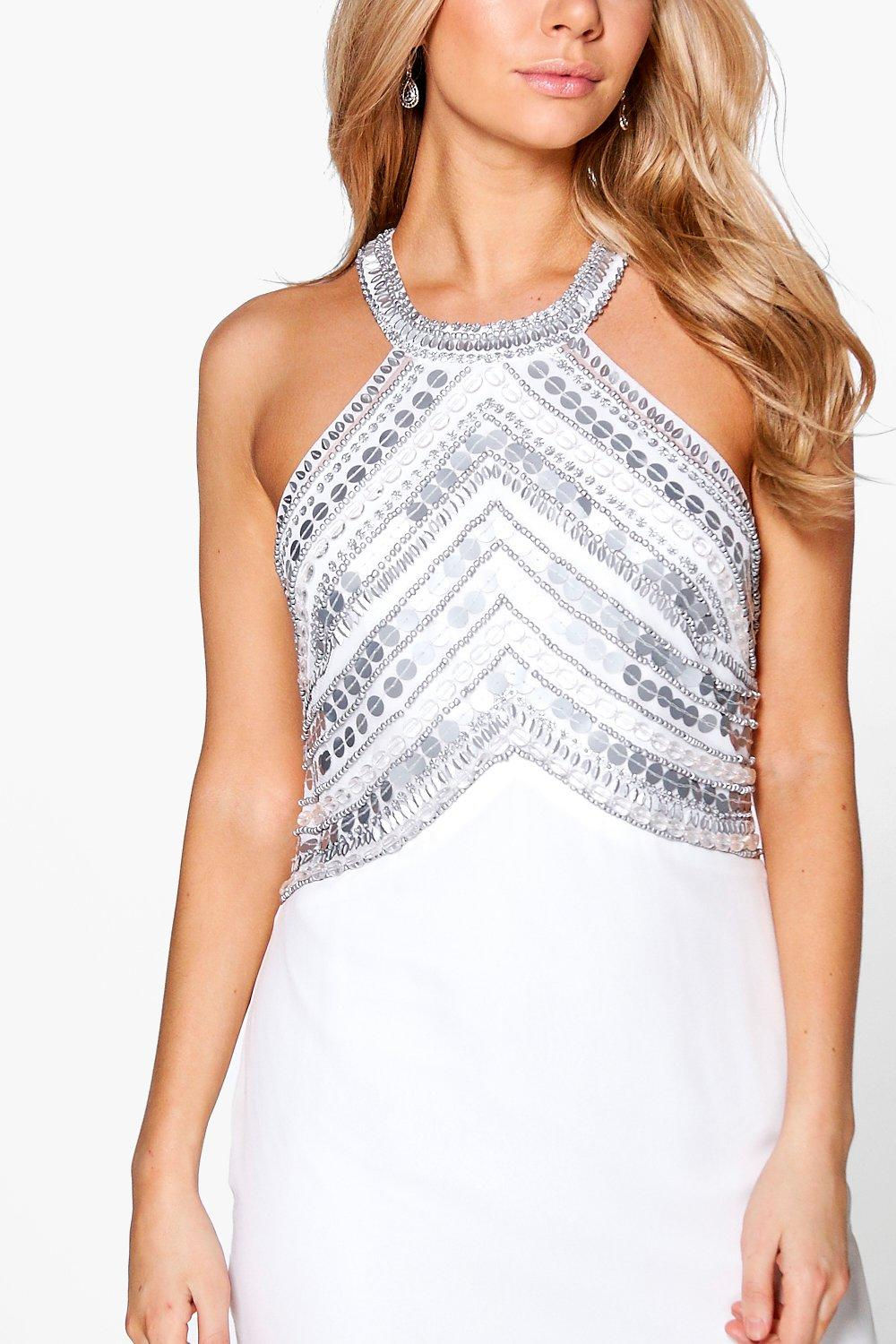 boohoo womens boutique beaded top low back maxi dress