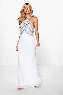 Boutique Ray Beaded Top Low Back Maxi Dress