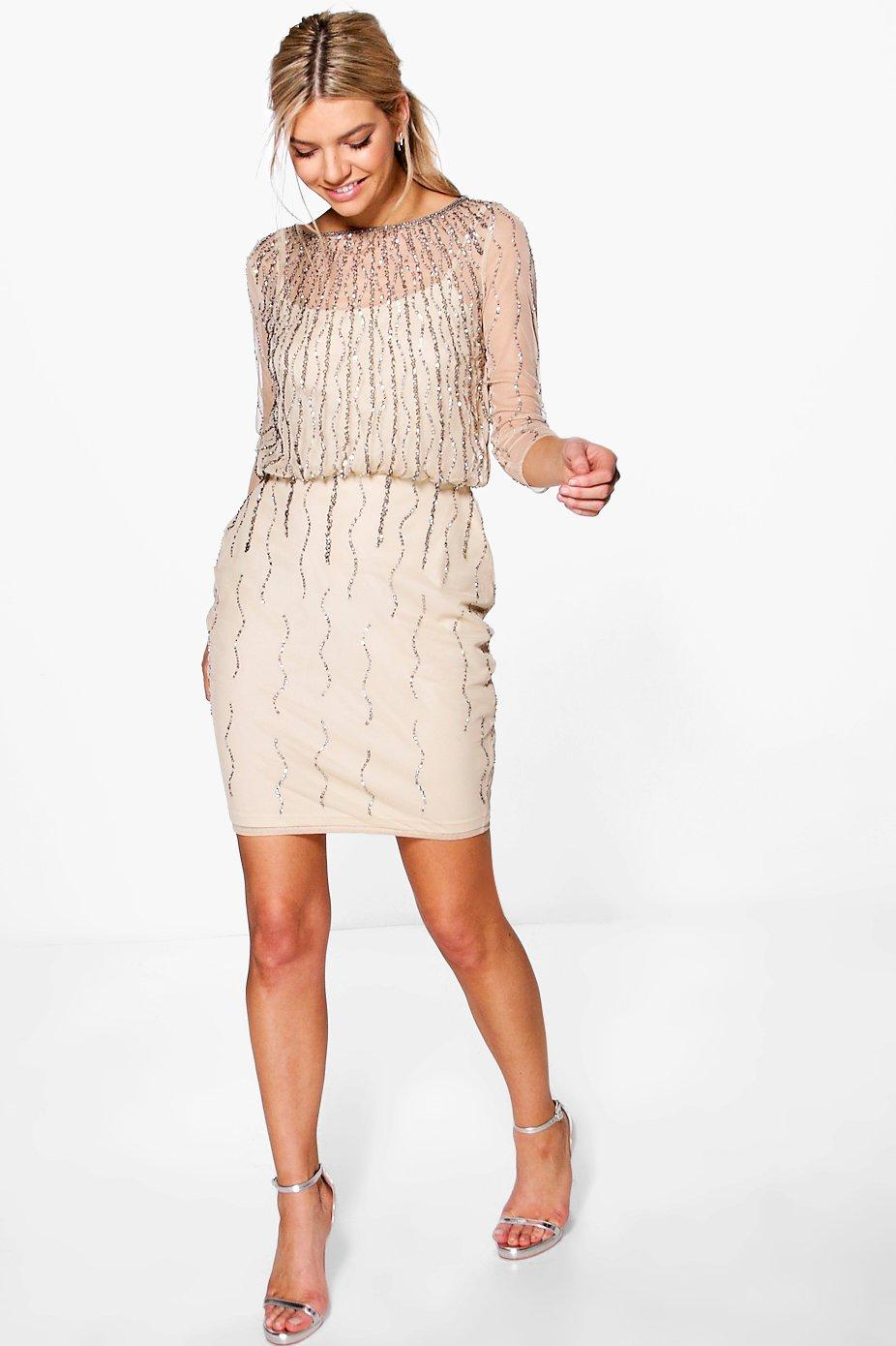 1920s Downton Abbey Dresses Boutique Marlena Beaded Batwing Dress blush $70.00 AT vintagedancer.com