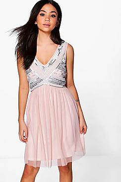 Boutique Aimee Beaded Top Swing Dress