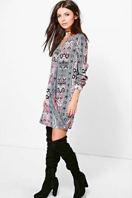 Lilibeth Monochrome Paisley Wrap Dress