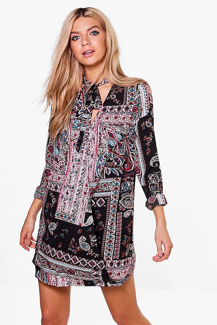 Eldridge Tie Neck Paisley Wrap Dress