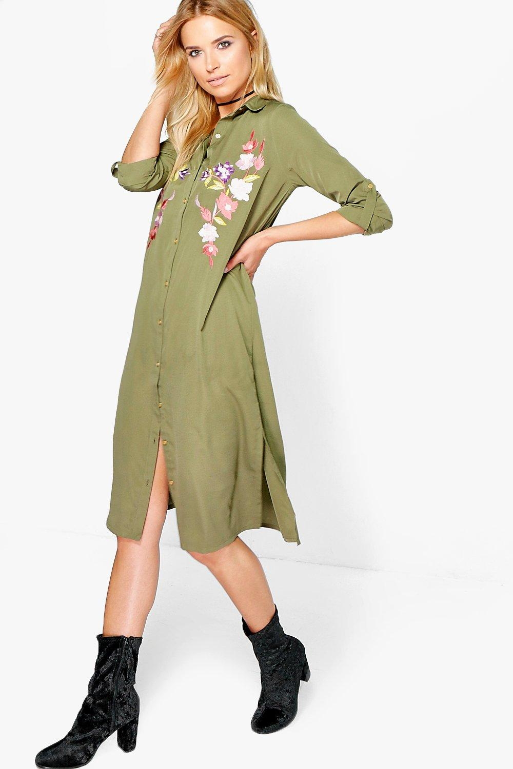 Boutique Abie Embroidered Midi Shirt Dress