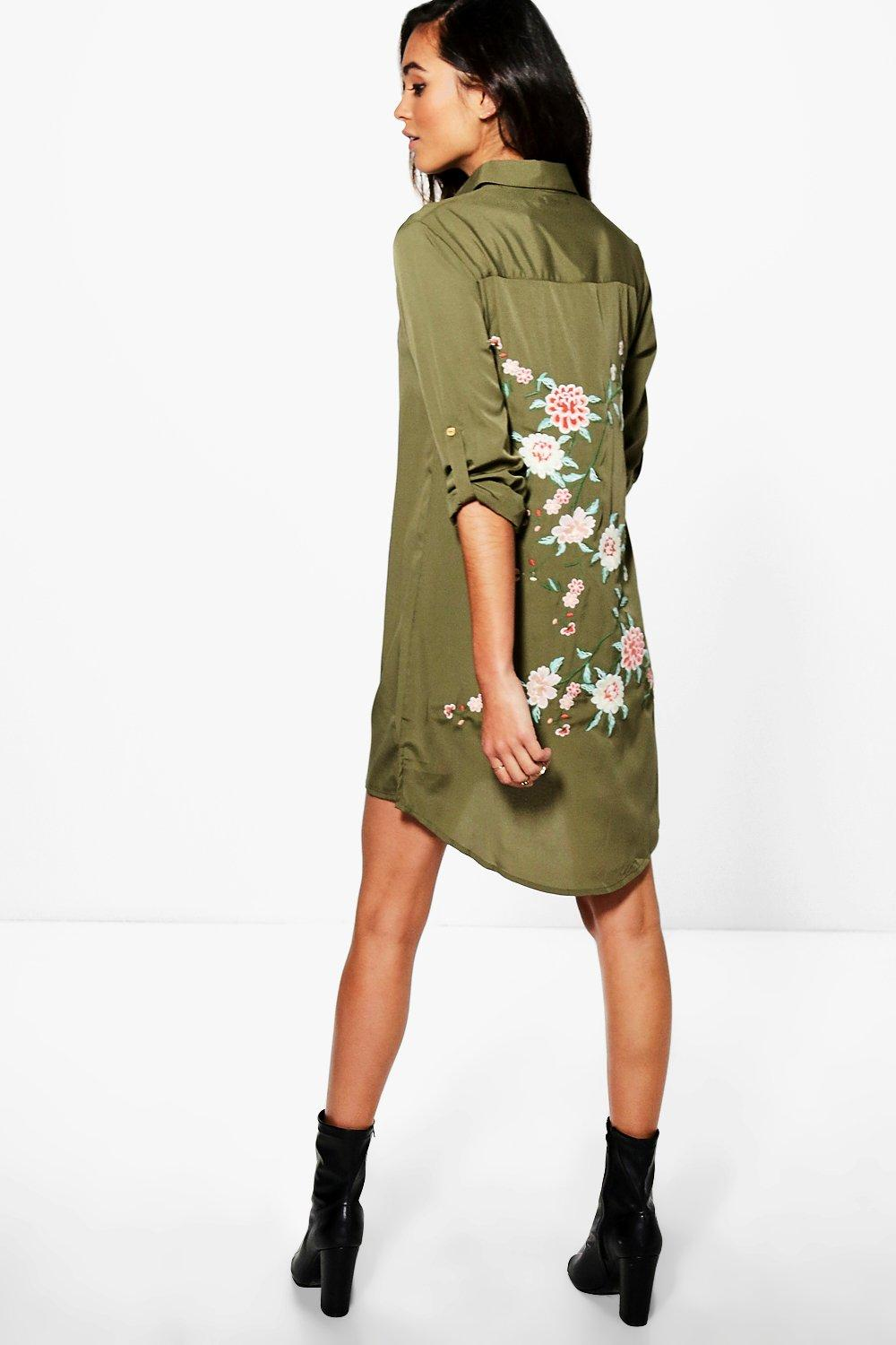 Boutique Zhi Embroidered Back Shirt Dress