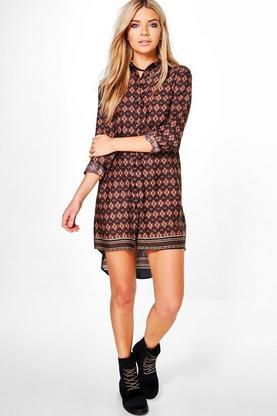 Julie Printed Long Sleeve Shirt Dress