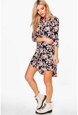 Reem Floral Long Sleeve Shift Dress