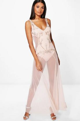 Boutique Rita Embellished Mesh Maxi Dress