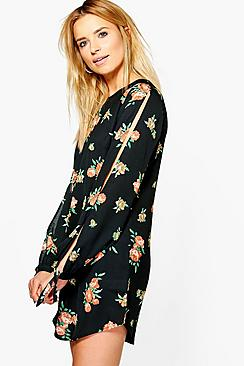 Ruby Floral Cut Out Long Sleeved Shift Dress