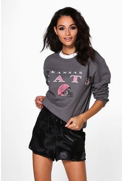 Francesca Slogan And Print Sweatshirt