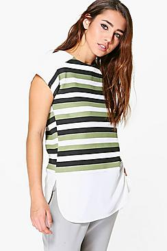 Arabella Striped Cap Sleeve Control Panel Shell Top