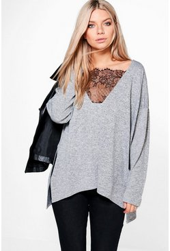 Aleesha Plunge Lace Premium Long Sleeve Top