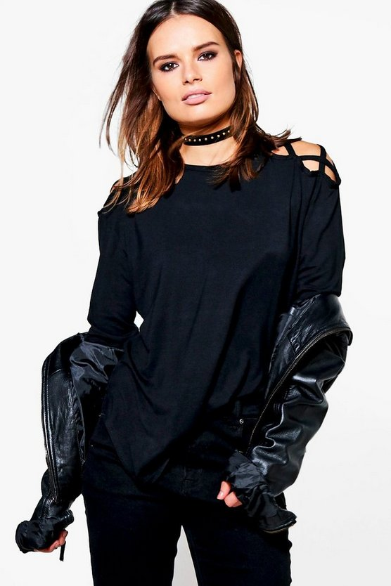 Izzy Long Sleeve Strappy Shoulder T-Shirt