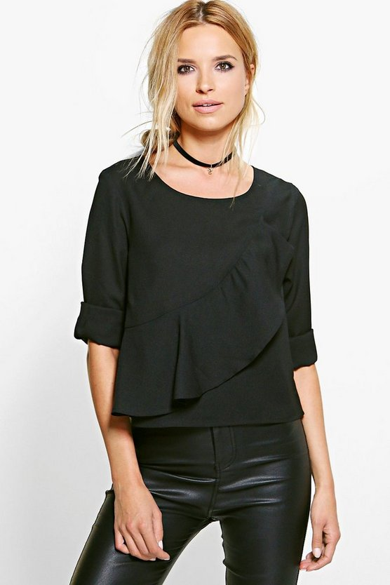 Ellie Ruffle Front Woven Top