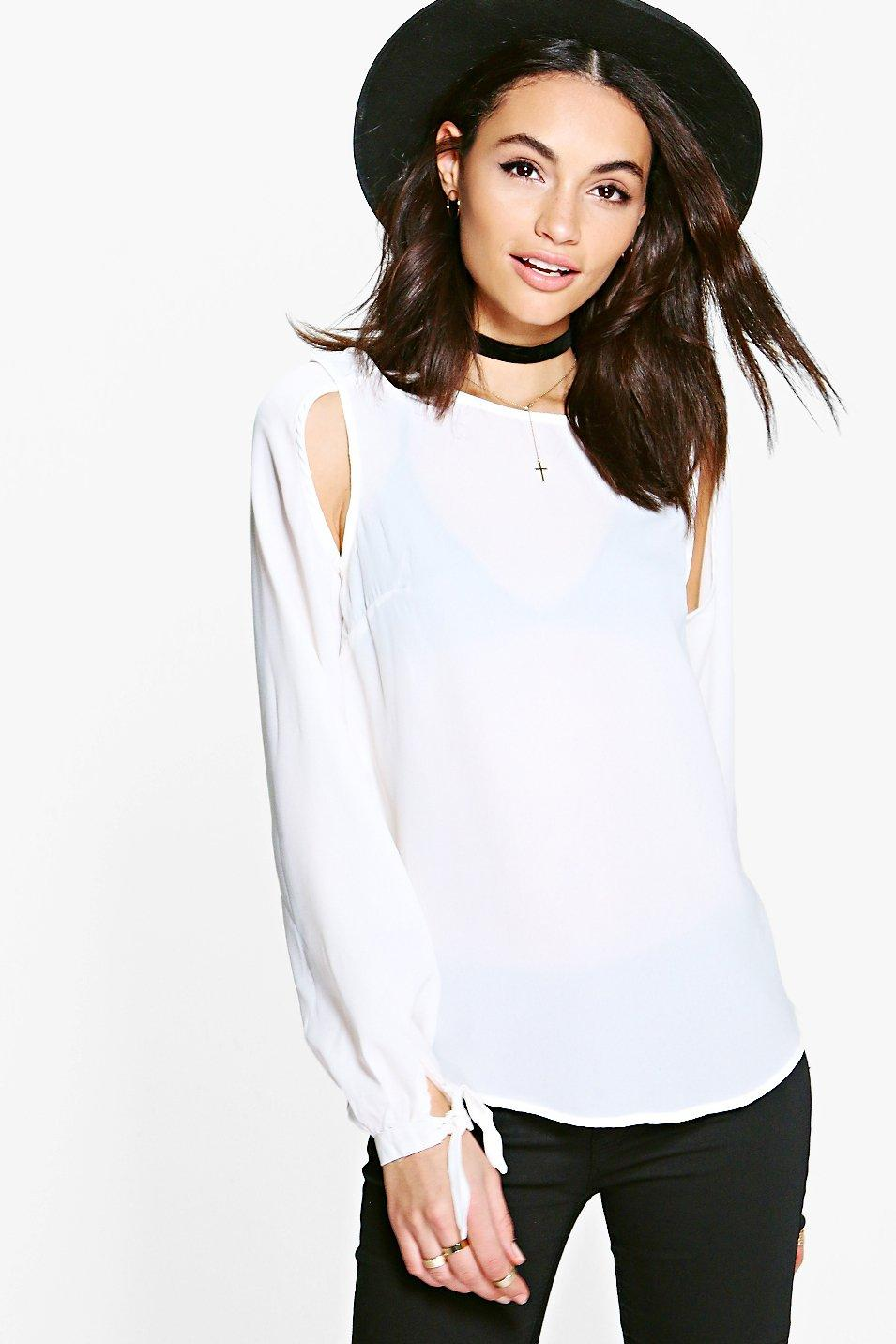 Woven Cut Out Tie Sleeve Blouse - cream