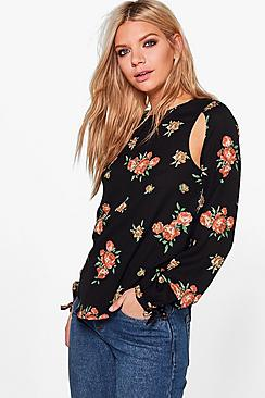 Helena Printed Woven Cut Out Tie Sleeve Blouse