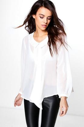 Ava Tie Neck Long Sleeve Blouse