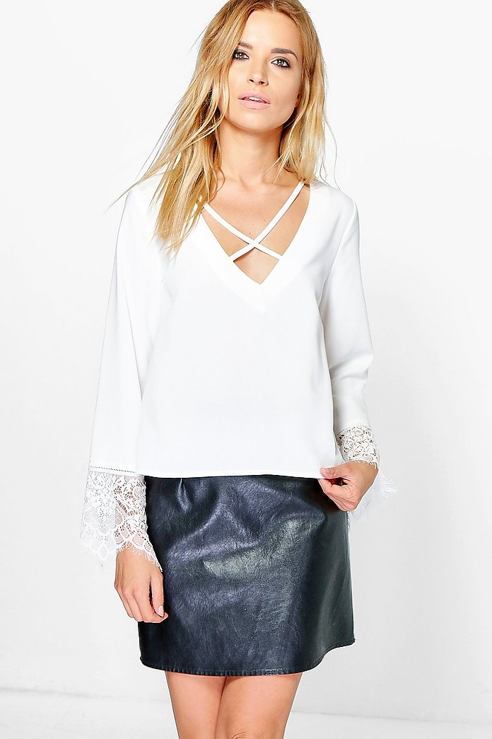 Anya Cross Front Lace Trim Sleeve Blouse