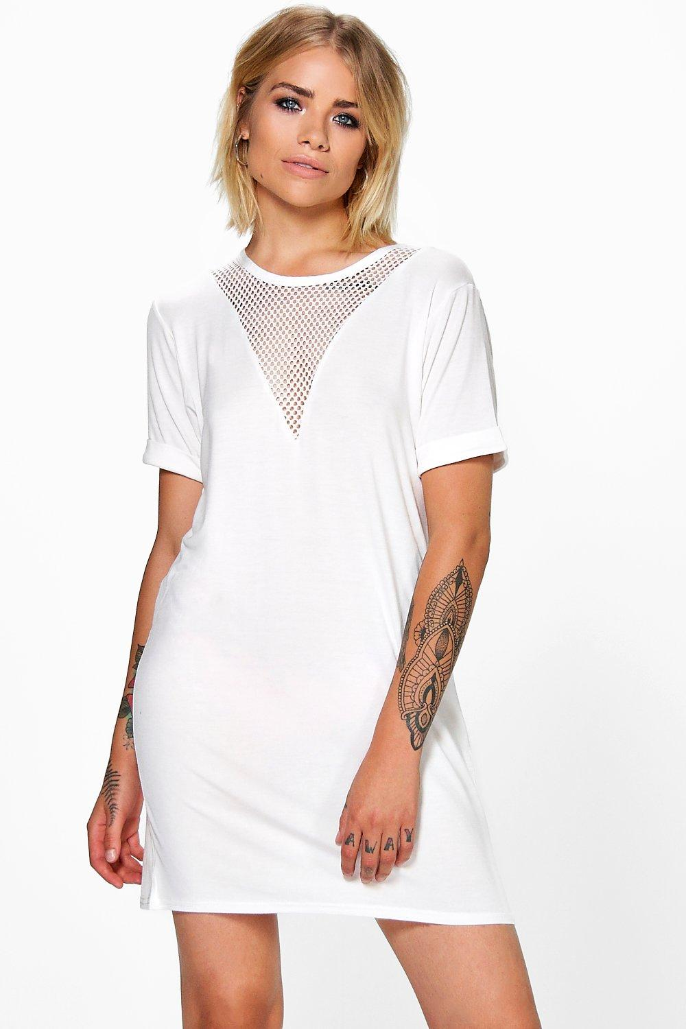Clarice V Mesh Insert T-Shirt Dress