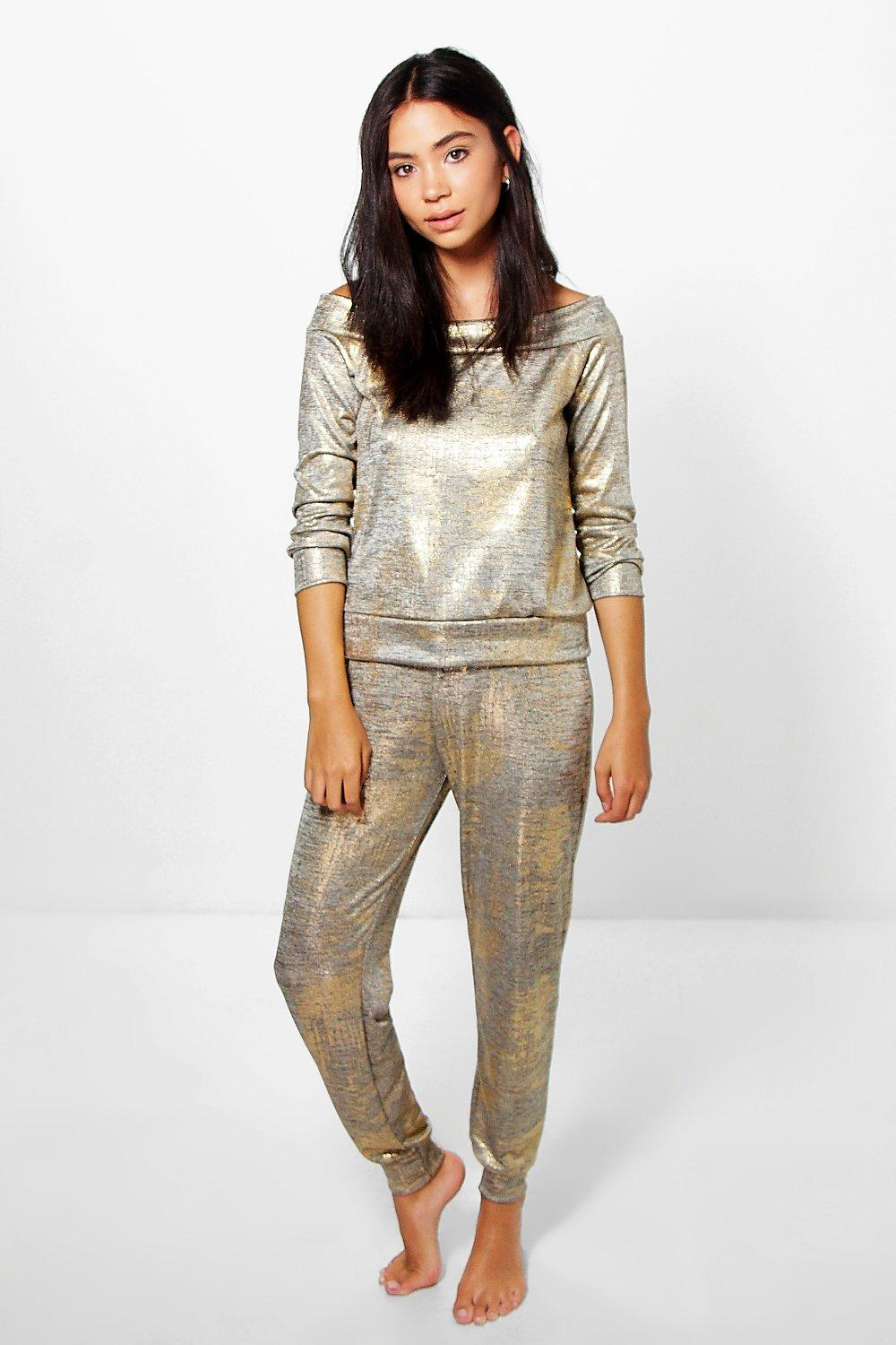 Poppy Slash Neck Metallic Knit Jogger Loungewear Set