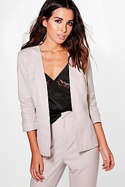 Imogen Woven Ruched Sleeve Collarless Blazer