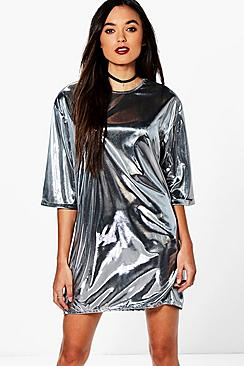 Fleur Metallic Long Sleeved Shift Dress
