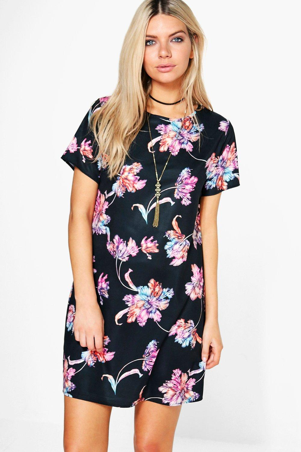Cally Floral Short Sleeve Shift Dress