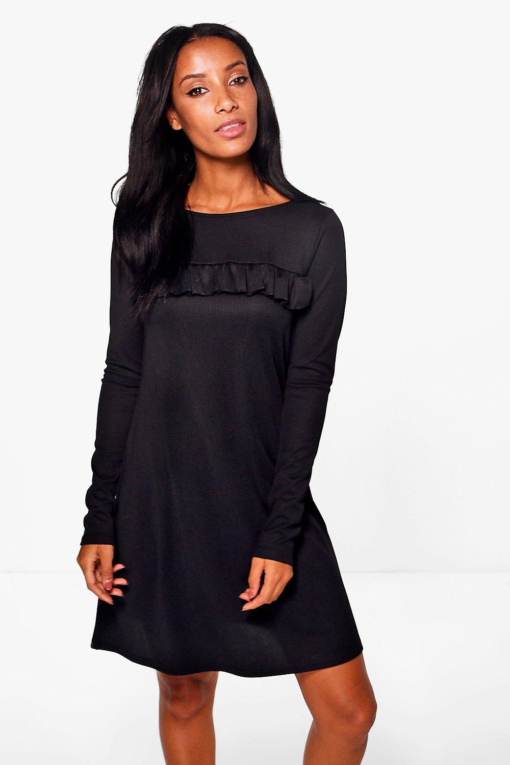 Quinn Rib Frill Swing Dress