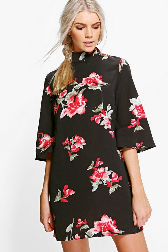 Fliss Round Neck Flared Sleeve Shift Dress