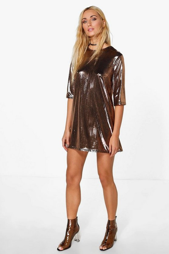 Zoe Boxy Metallic Pleated Shift Dress