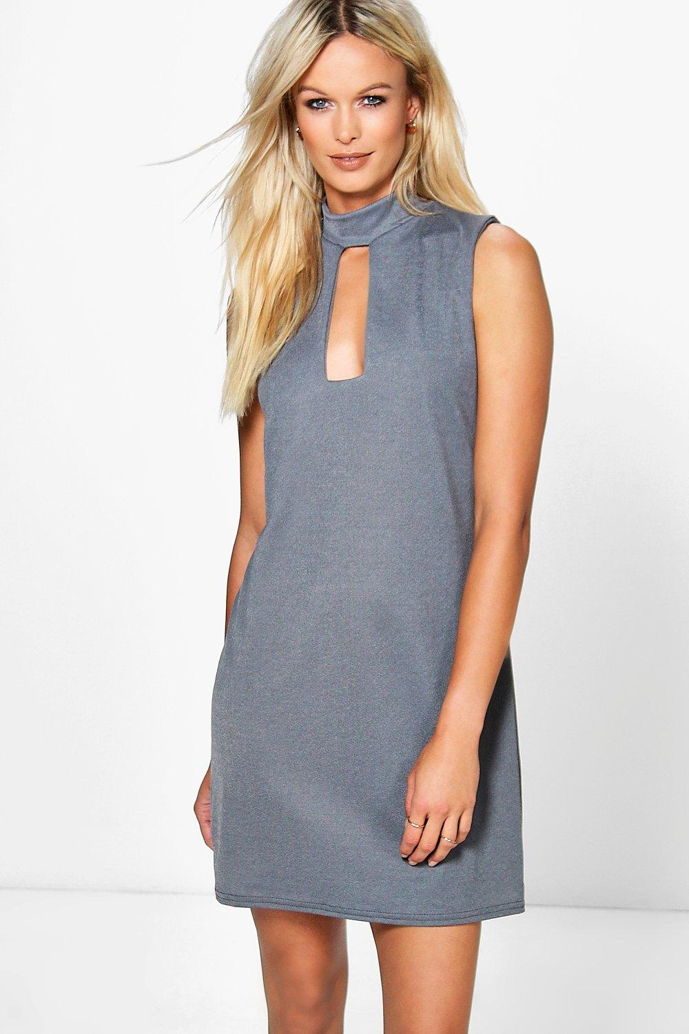Arabella Choker Neck Plunge Shift Dress