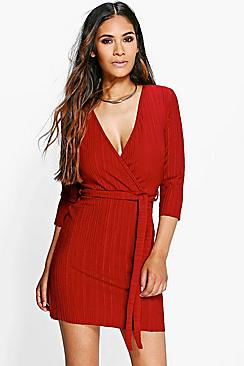 Sheila Pleated Crepe Wrap Dress