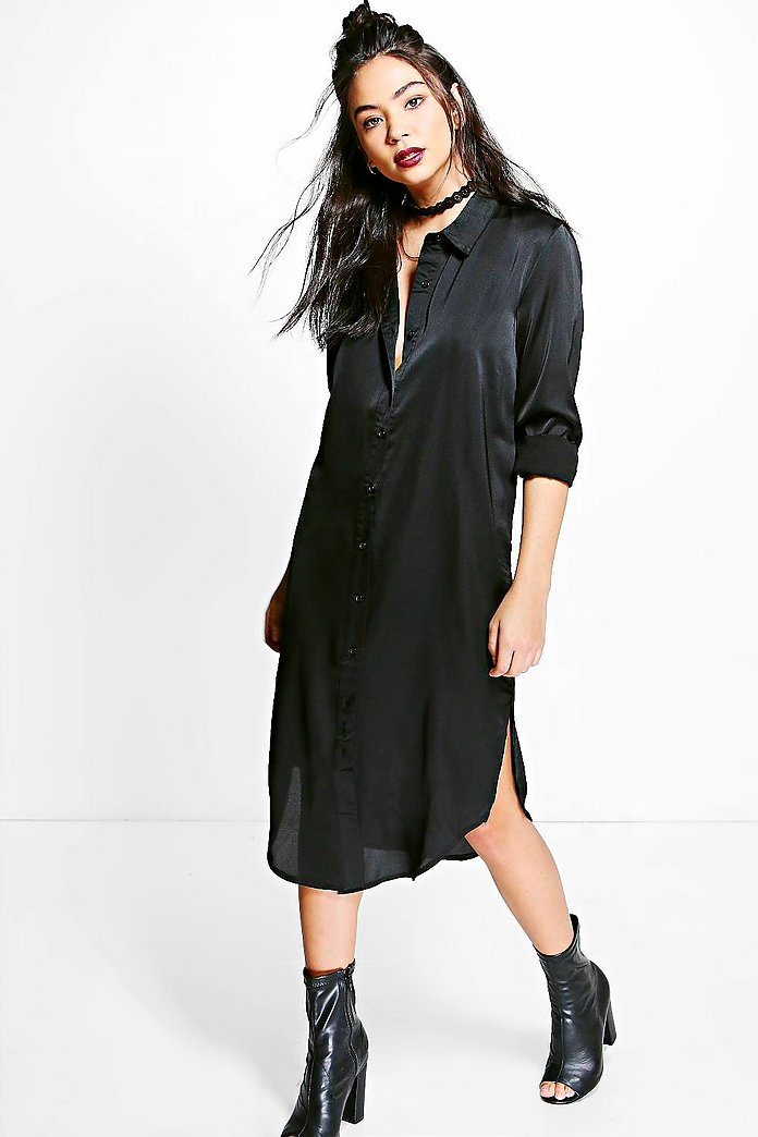 Charlie Satin Midi Shirt Dress