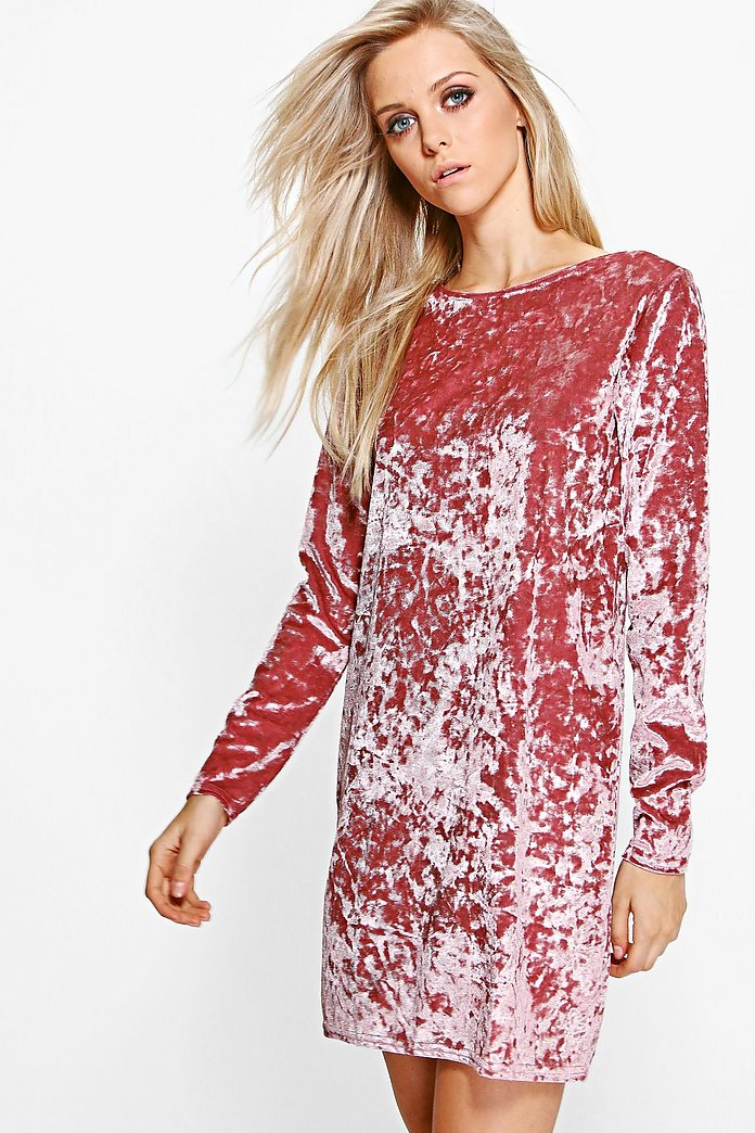 Jenna Crew Neck Velvet Shift Dress