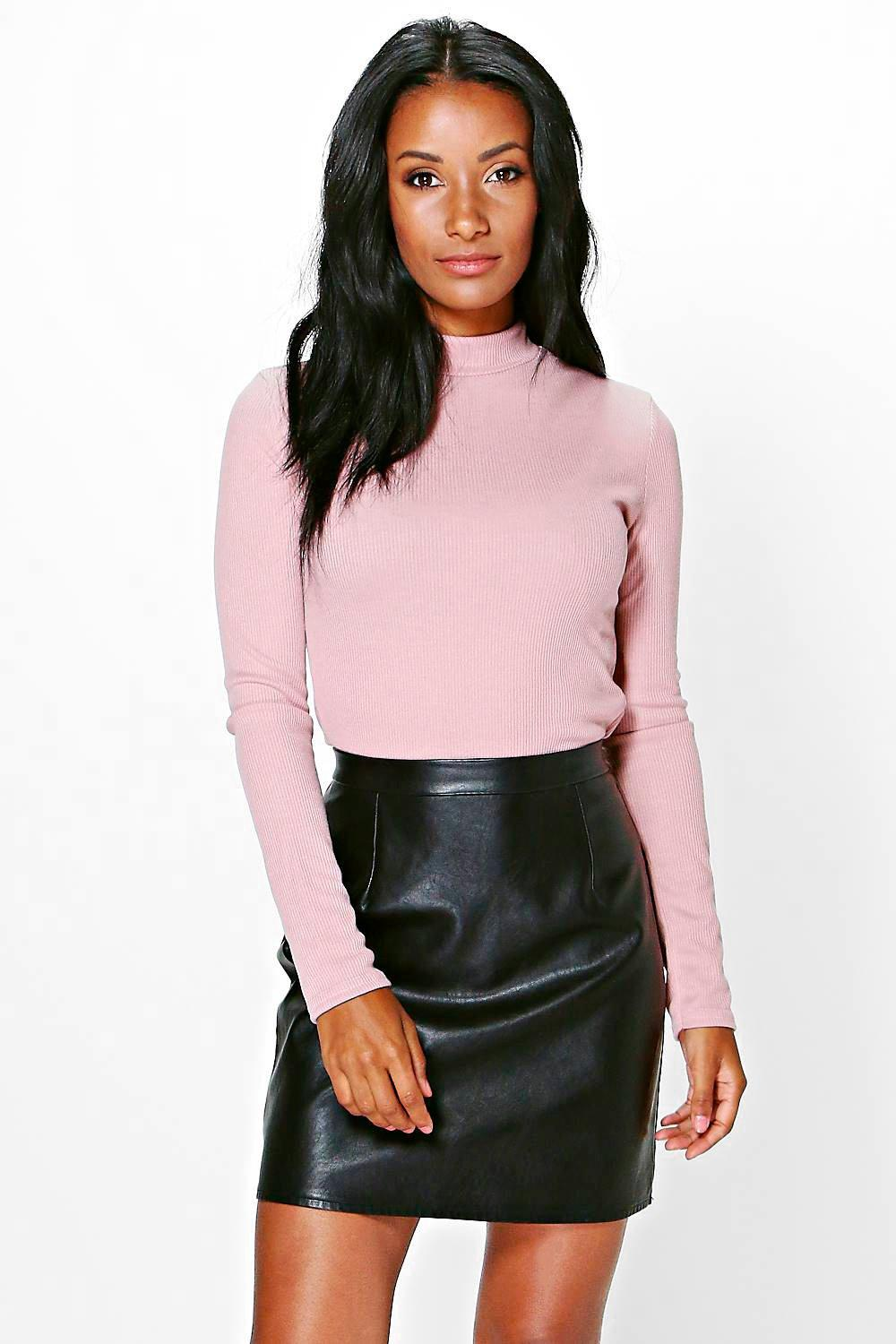 Ruby Ribbed Roll Neck Top
