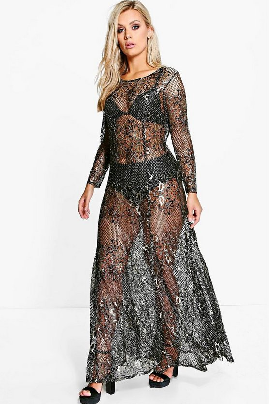 Jordyn Metallic Lace Maxi Dress