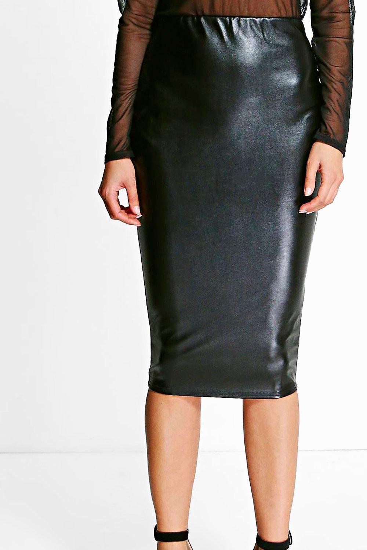 boohoo womens leia leather look midi skirt ebay