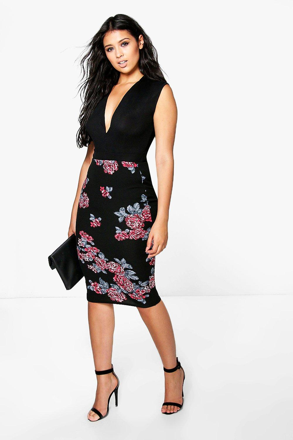 Loren Winter Floral Scuba Midi Skirt