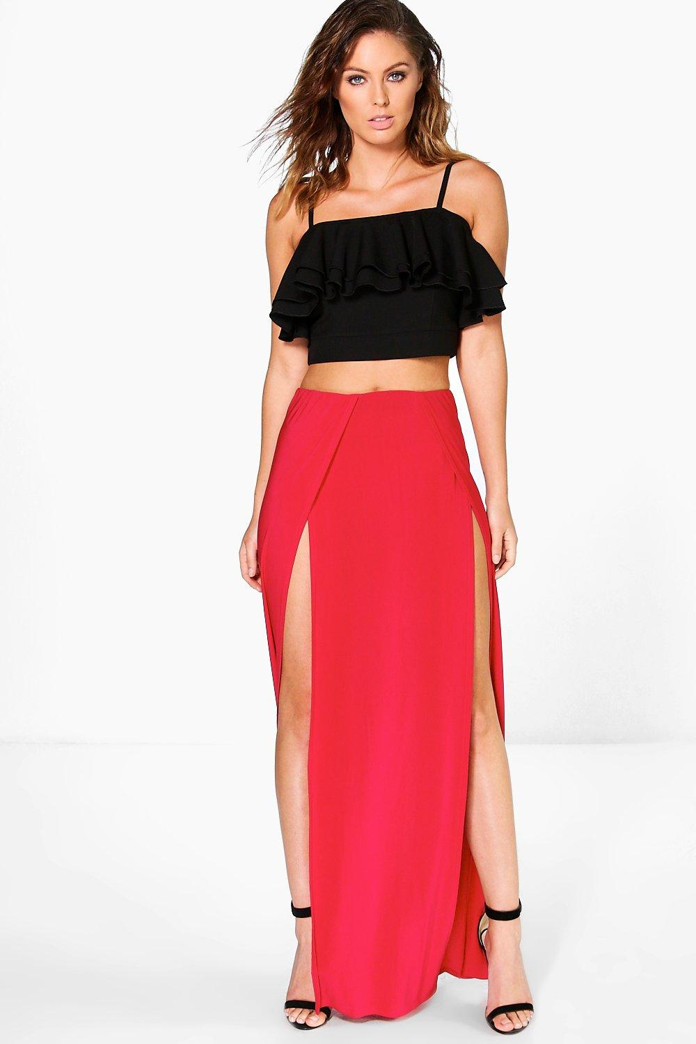 Mara Double Thigh High Split Maxi Skirt