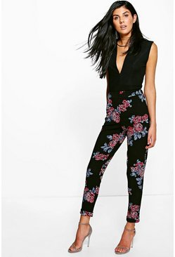 Priya Winter Floral Skinny Stretch Trousers