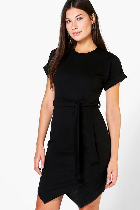 Maurie Asymmetirc Tie Waist Wrap Dress