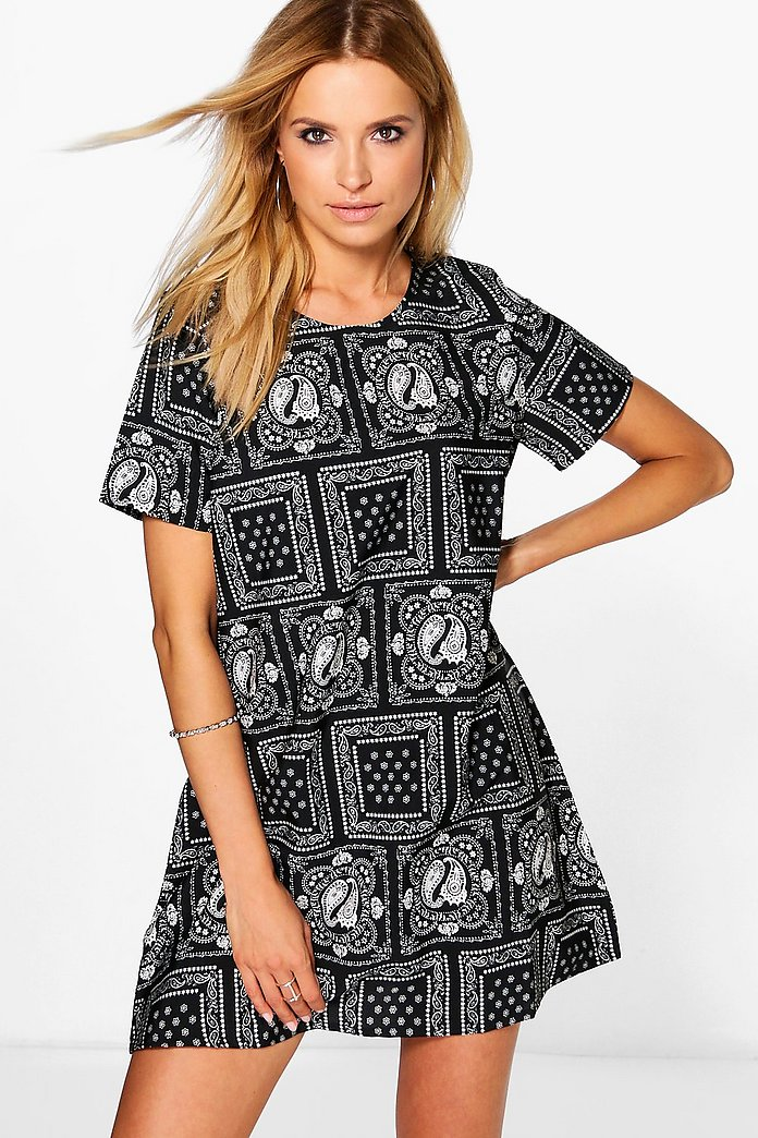Tamara Monochrome Paisley Print Shift Dress