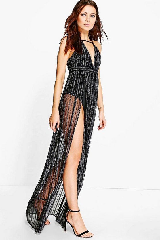 Uma Metallic Stripe Mesh Super Split Maxi Dress