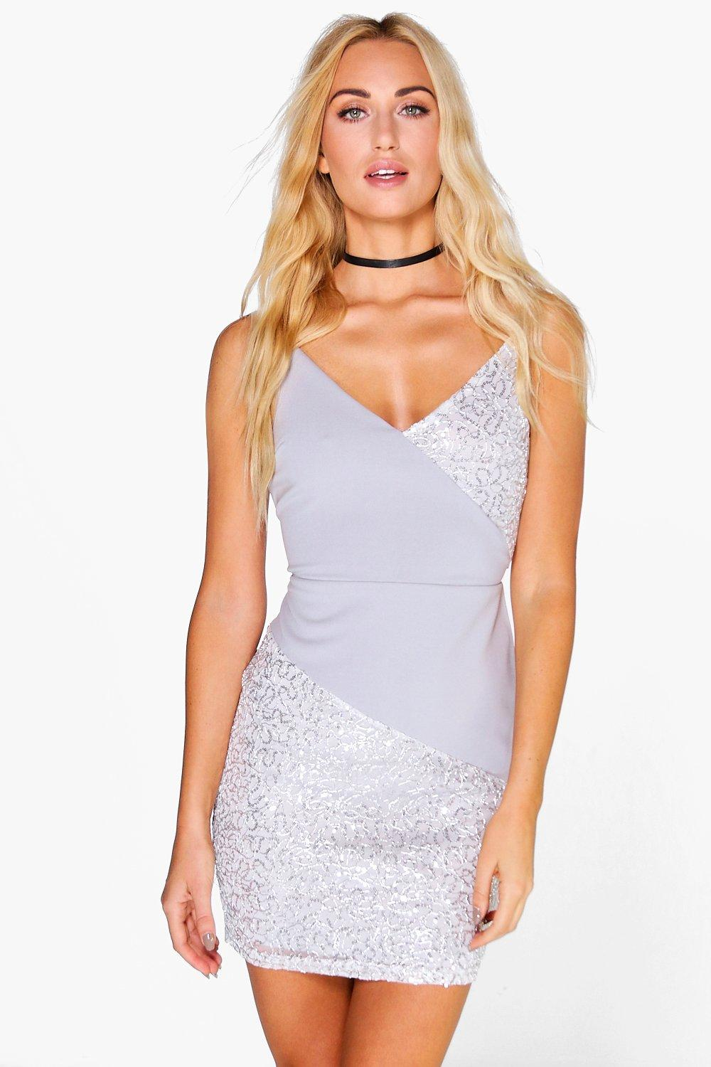 Thea Sequin Panelled Strappy Bodycon Dress