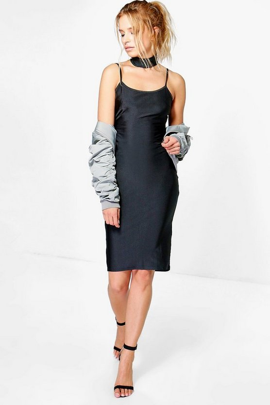Elvira Slinky Choker Midi Bodycon Dress