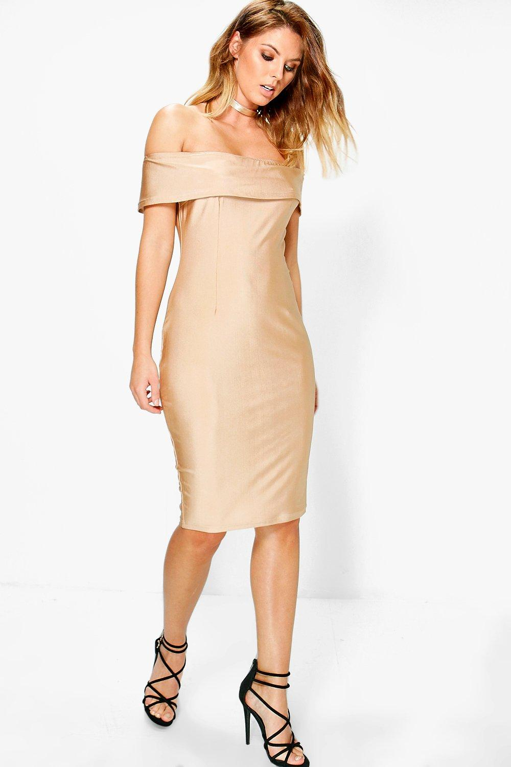 Daisy Slinky Off Shoulder Midi Bodycon Dress
