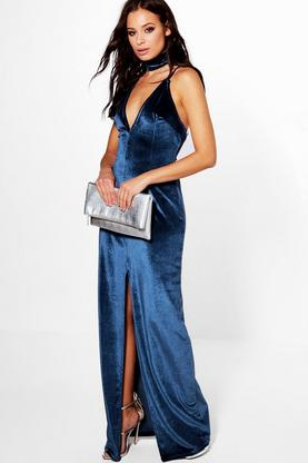 Josie Velvet Choker Split Front Maxi Dress